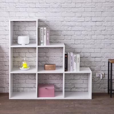 42.5 in. White Wood 6-shelf Cube Bookcase with Open Back