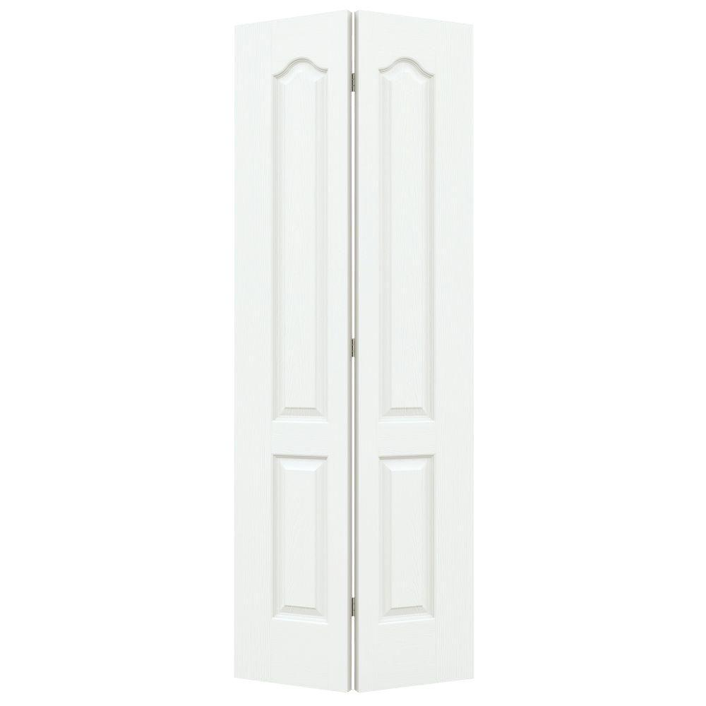 24 in. x 80 in. Camden White Painted Textured Molded Composite