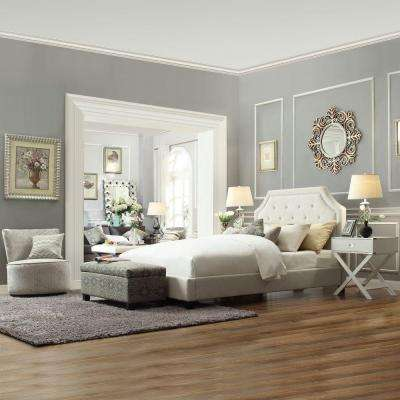 Monarch White King Upholstered Bed