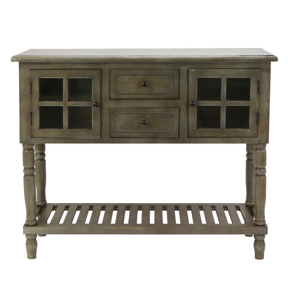 Decor Therapy Morgan Antique Gray 2-Door Console Table FR8644