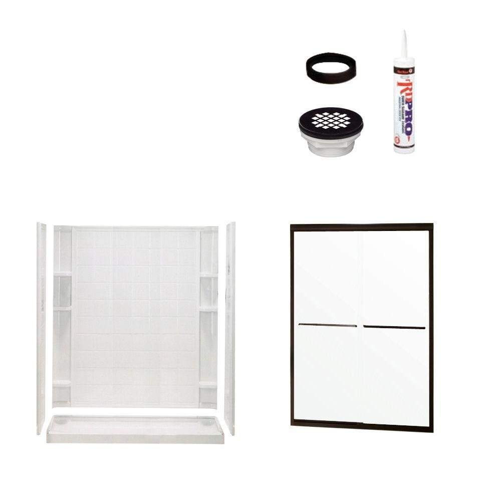STERLING Ensemble Tile 34 in. x 60 in. x 75-3/4 in. Shower Kit with Shower Door in White/Oil Rubbed Bronze-DISCONTINUED