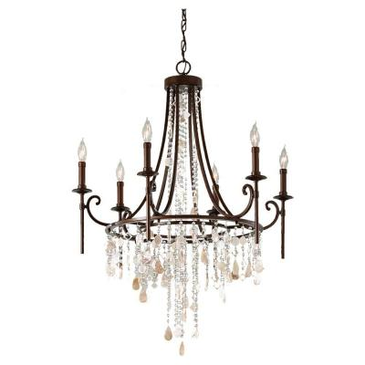 Cascade 6-Light Heritage Bronze Single-Tier Chandelier