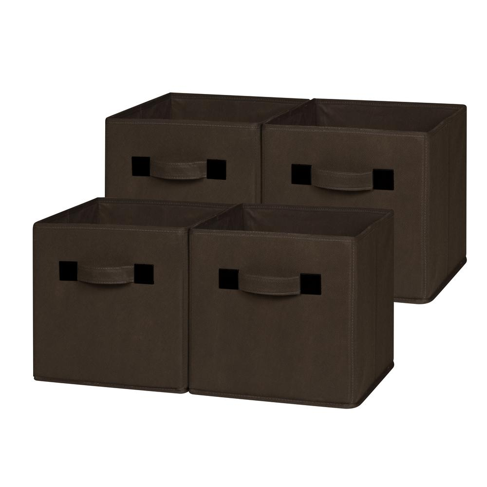 10.5 in. x 11 in. Chocolate Foldable Cloth Storage Cube (4-Pack)