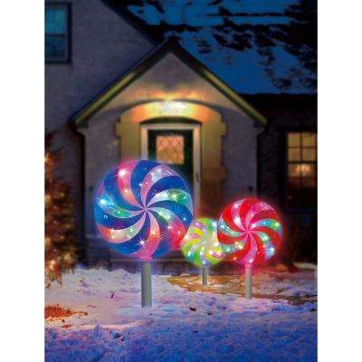18.7 ft. Color Blast Remote Controlled RGB LED Lollipop Pathway Marker (3-Pack)