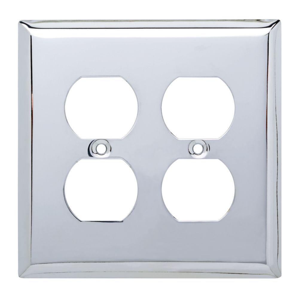 Stamped Square Decorative Double Duplex Outlet Cover, Polished Chrome