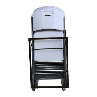 White / Gray Metal Frame Stackable Folding Chair (Set of 9)