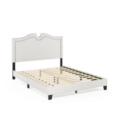 Davina White King Linen Nailhead Trim Bed Frame