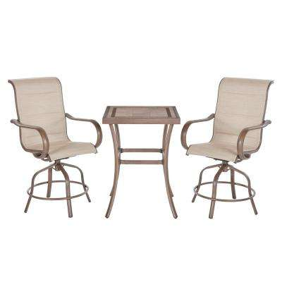 Sun Valley 3-Piece Aluminum Square Outdoor Bar Height Bistro Set in Sunbrella Sling