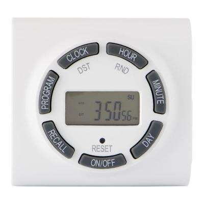15 Amp 7-Day Indoor Plug-In Digital Polarized Timer, White