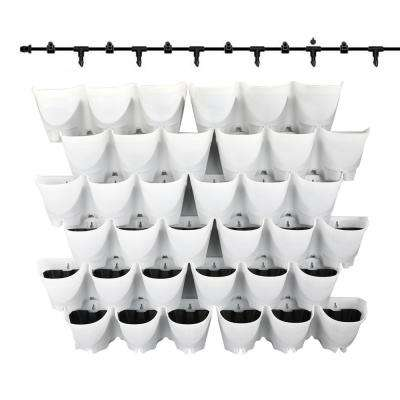 3-Pockets White Self-Watering Drip System Wall Planter (Set of 12)