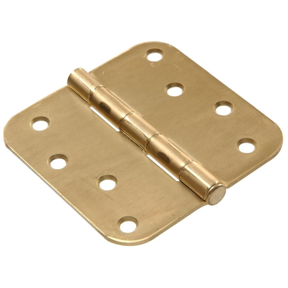 Hardware Essentials 4 in. Satin Brass Residential Door Hinge with 5/8 in. Round Corner Removable Pin Full Mortise (9-Pack)