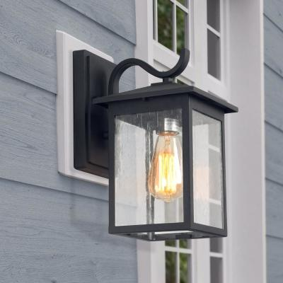 1-Light Aluminium Black Outdoor Wall Mount Coach Light Sconce with Seeded Glass