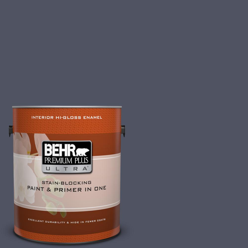 Behr Premium Plus 1 Gal Pure Black Hi Gloss Enamel Exterior Interior Paint 862001 The Home Depot