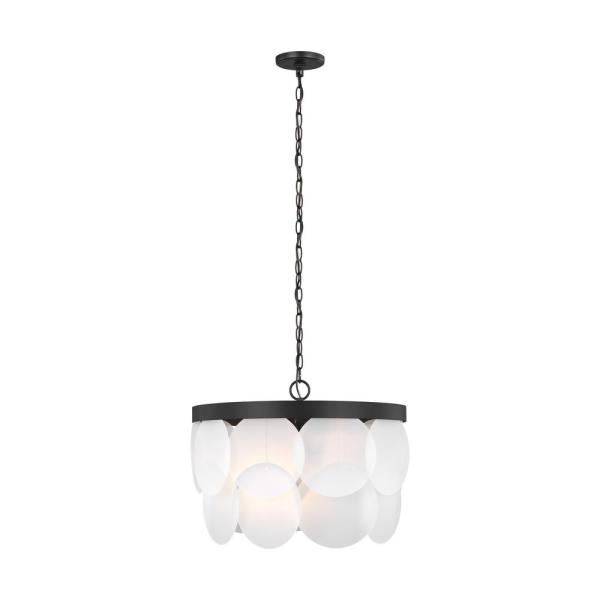 Mellita 6-Light Midnight Black Pendant with Satin Etched Glass Shade