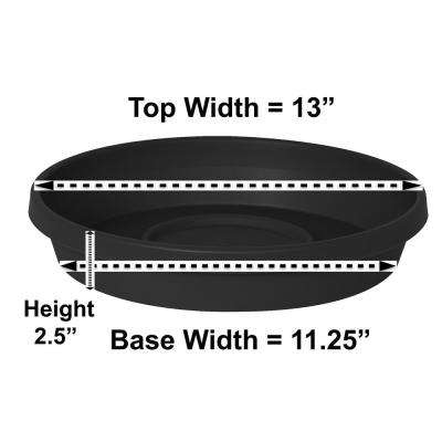 13 in x 2.5 Black Terra Plastic Plant Saucer Tray