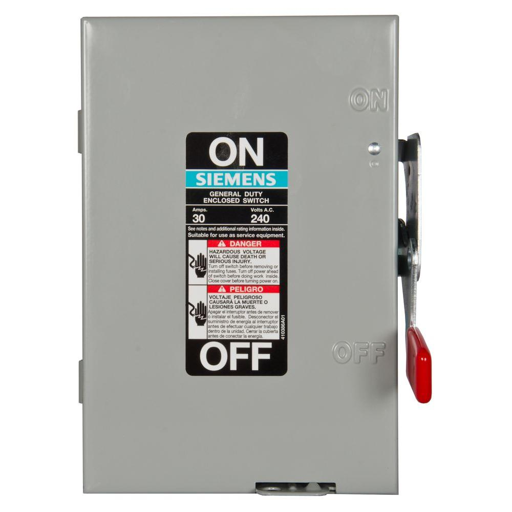 Siemens General Duty 30 Amp 2 Pole Fusible Indoor Safety