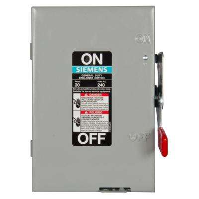General Duty 30 Amp 2-Pole Fusible Indoor Safety Switch with Neutral