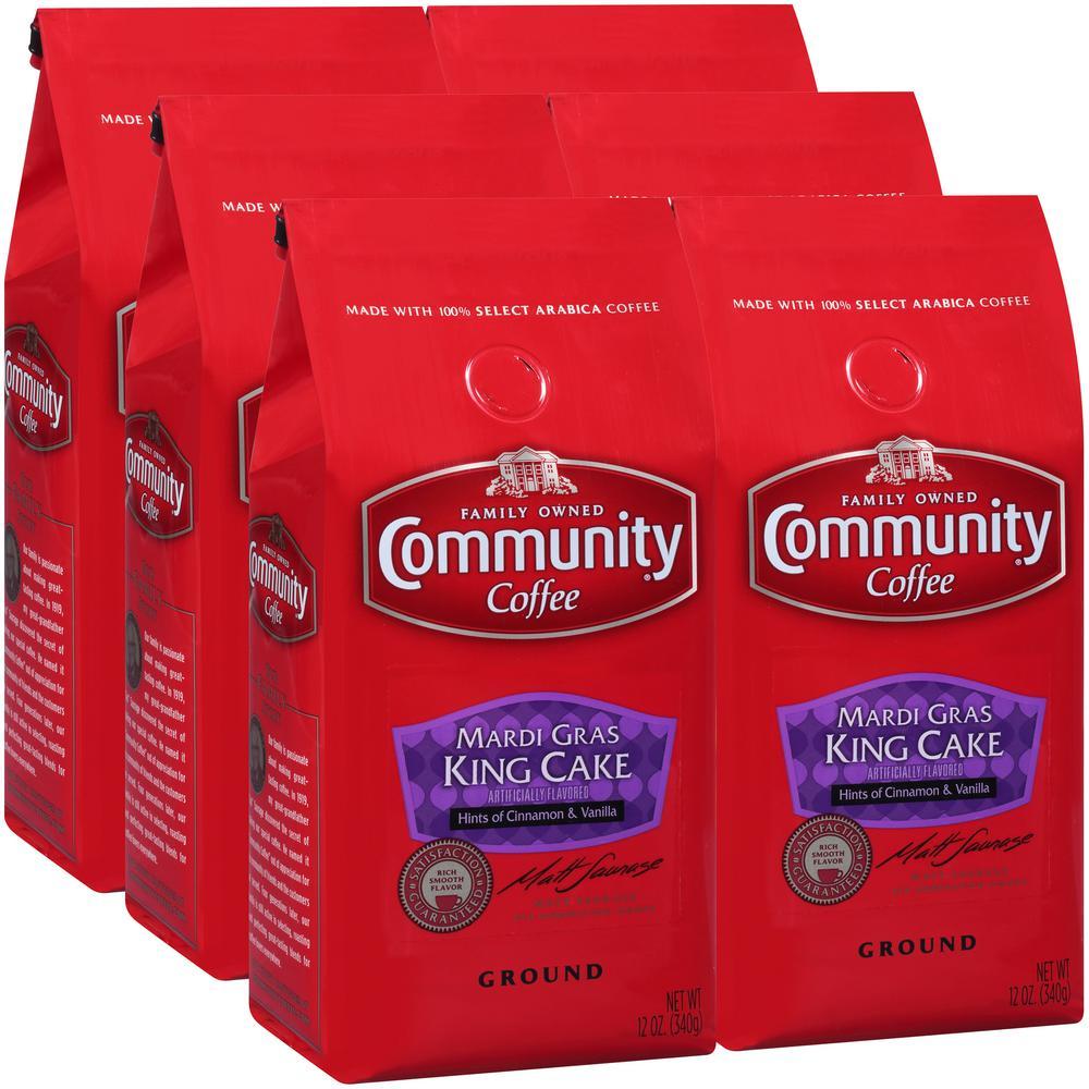 Mardi Gras 12 Oz. King Cake Premium Ground Coffee (6-Pack)
