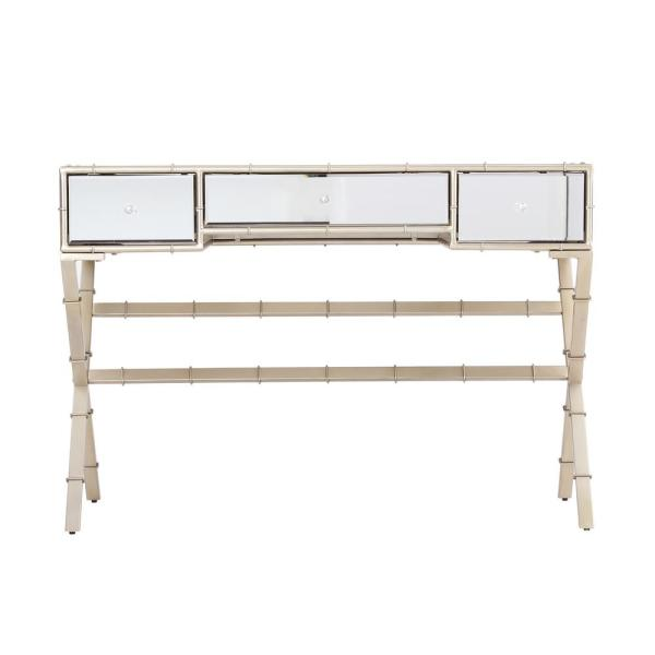 Kina Champagne Hollywood Regency Mirrored Console Table
