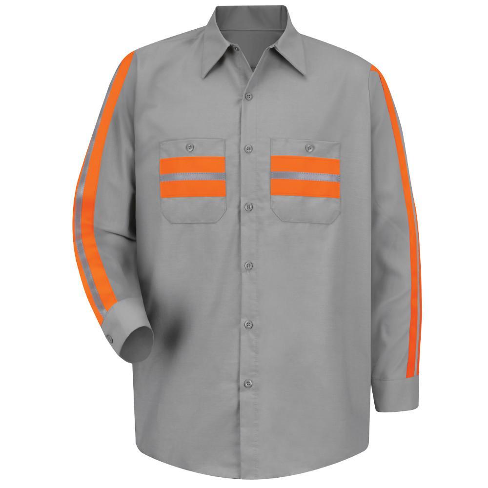Red Kap Uniforms Men's Large Light Grey with Orange Visib...