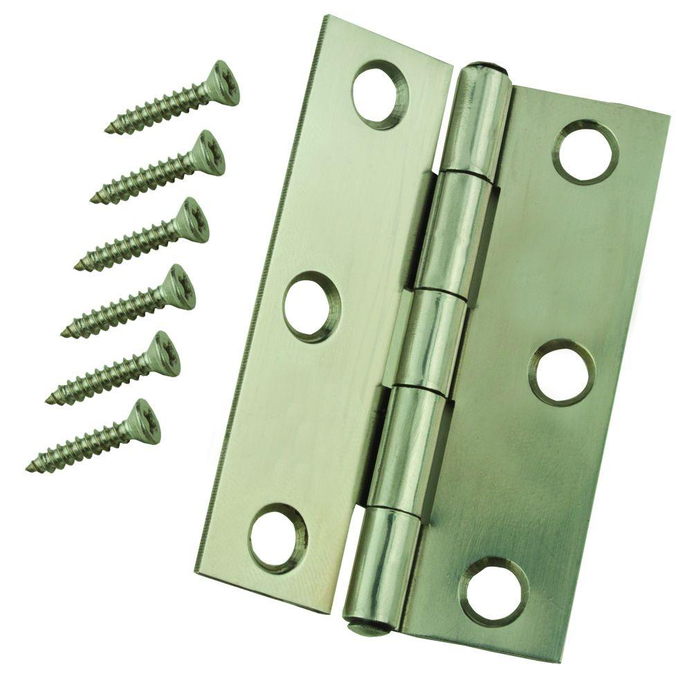 Everbilt 2-1/2 in. Stainless Steel Narrow Utility Hinge Non-Removable Pin (2-Pack)