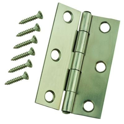 2-1/2 in. Stainless Steel Narrow Utility Hinge Non-Removable Pin (2-Pack)