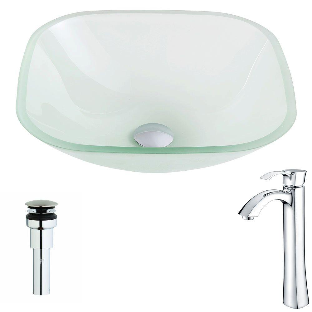 ANZZI Vista Series Deco-Glass Vessel Sink in Lustrous Frosted with Harmony Faucet in Polished Chrome, Lustrous Frosted Finish was $243.99 now $195.19 (20.0% off)