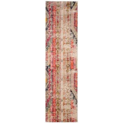 Monaco Light Gray/Multi 2 ft. 2 in. x 18 ft. Runner Rug
