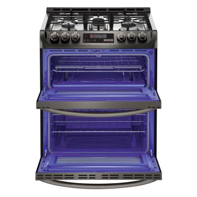 6.9 cu. ft. Smart Double Oven Slide In Gas Range with ProBake Convection and Wi-Fi in Black Stainless Steel