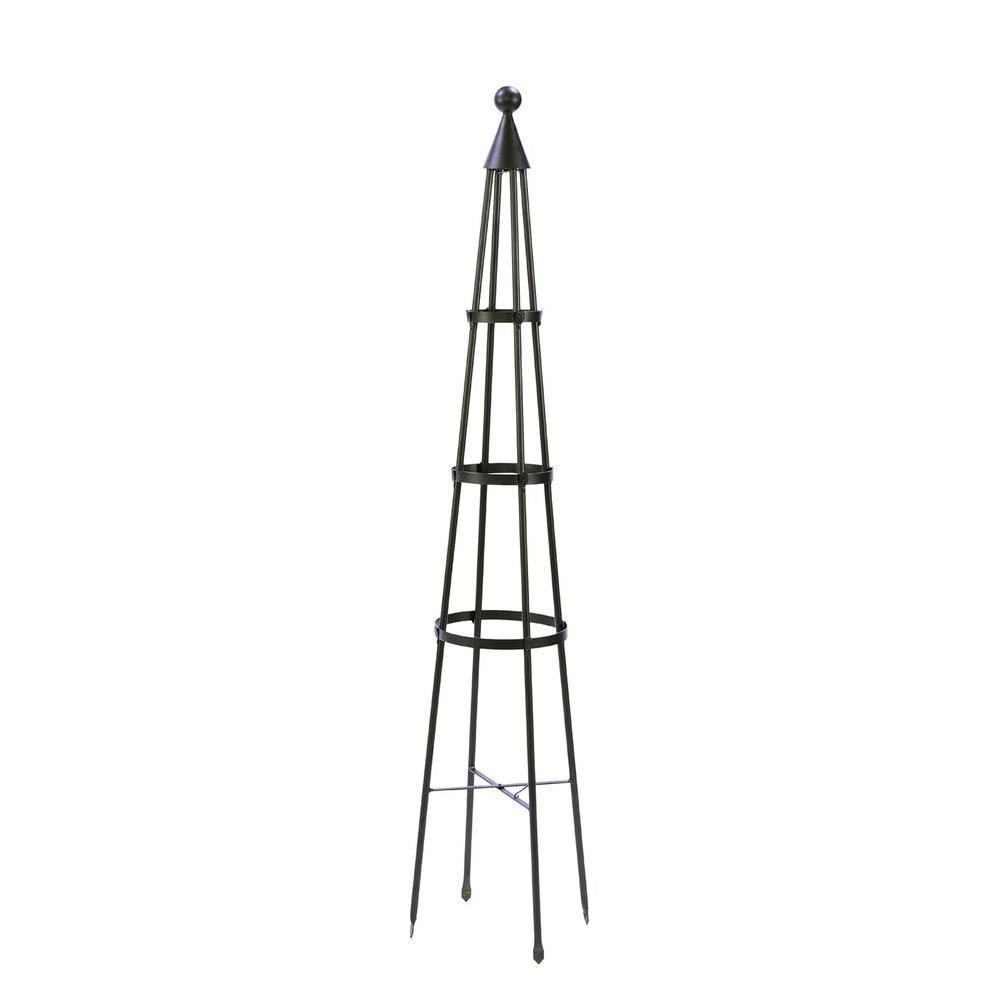 Obelisk Garden Trellis, 84 in. Tall Graphite Powder Coat Finish