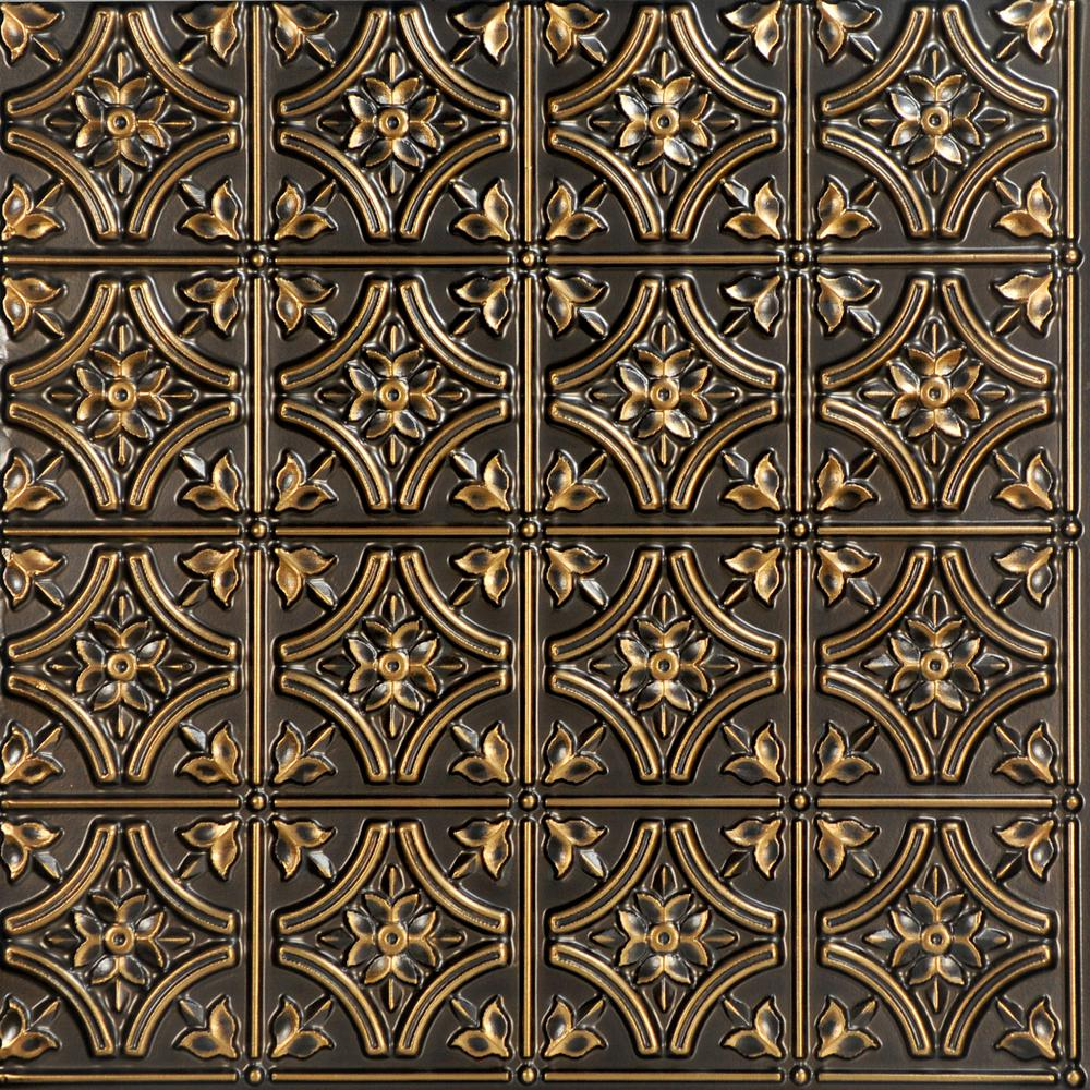 From Plain To Beautiful In Hours Gothic Reams 2 ft. x 2 ft. PVC Glue-up Ceiling Tile in Antique Gold