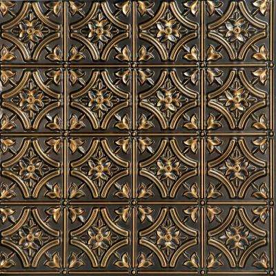 Gothic Reams 2 ft. x 2 ft. PVC Glue-up Ceiling Tile in Antique Gold