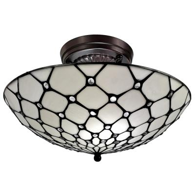 16 in. 3-Light White Tiffany Style Jeweled Flush Mount Ceiling Fixture Lamp