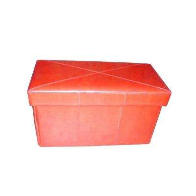 Nottingham Red Bonded Leather Foldable Storage Ottoman
