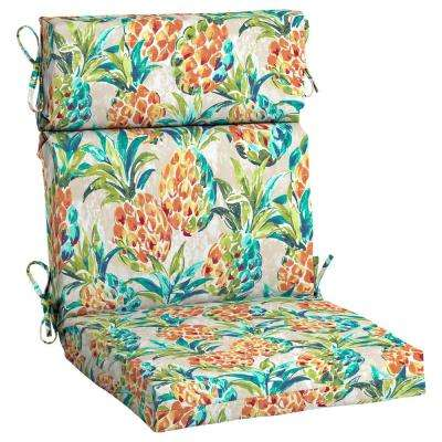 Pineapples Outdoor High Back Dining Chair Cushion