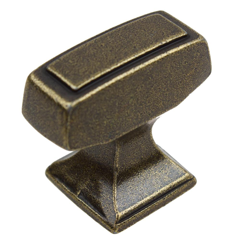GlideRite 1-1/8 in. Antique Brass Deco Rectangle Cabinet Knobs (10 ...