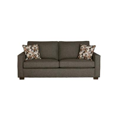 Colson 89.8 in. Charcoal Polyester 3-Seater Queen Sleeper Sofa Bed with Square Arms