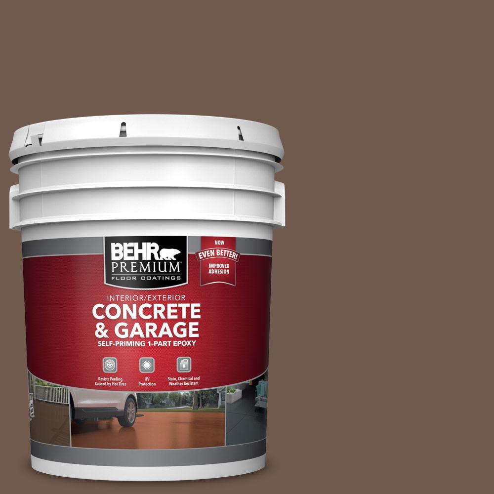 BEHR PREMIUM 5 gal. #PFC-35 Rich Brown Self-Priming 1-Part Epoxy Satin Interior/Exterior Concrete and Garage Floor Paint