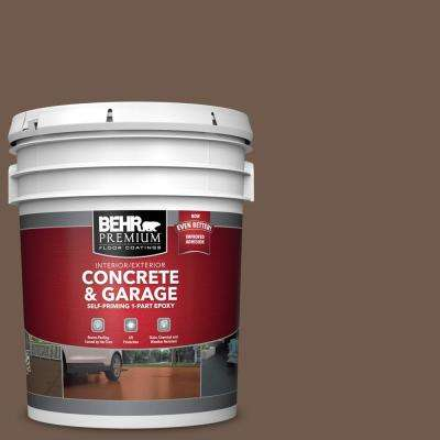 5 gal. #PFC-35 Rich Brown Self-Priming 1-Part Epoxy Satin Interior/Exterior Concrete and Garage Floor Paint