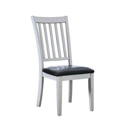 Tina White Leatherette Slat Side Chair (Set of 2)