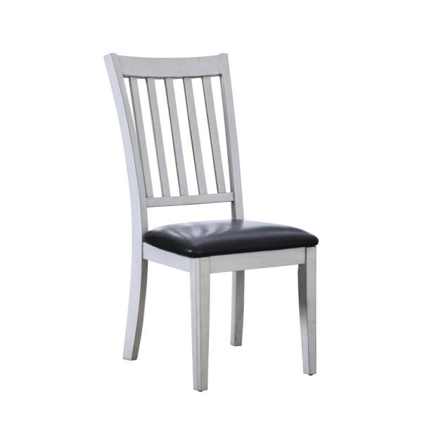 Furniture of America Tina White Leatherette Slat Side Chair (Set of 2)