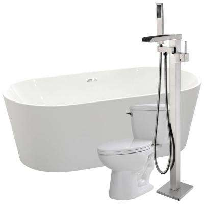 Chand 67 in. Acrylic Flatbottom Non-Whirlpool Bathtub in Glossy White with Union Faucet and Kame 1.28 GPF Toilet