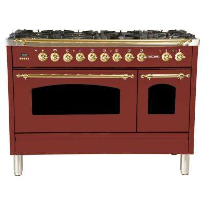 48 in. 5.0 cu. ft. Double Oven Dual Fuel Italian Range True Convection, 7 Burners, Griddle, LPGas, Brass Trim/Burgundy