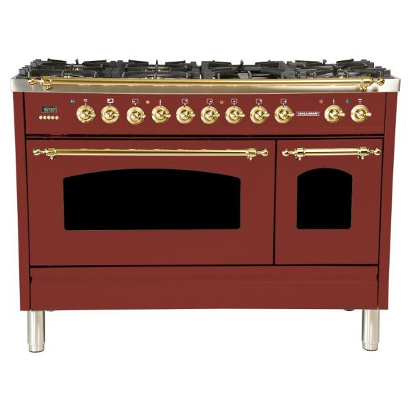 48 in 5.0 cu. ft Double Oven Dual Fuel Italian Range w/True Convection, 7 Burners, Griddle, LP Gas, Brass Trim/Burgundy