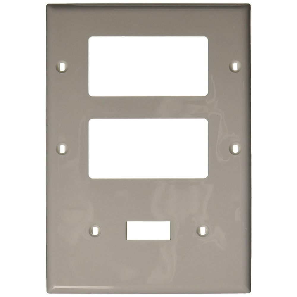 Leviton decora 3 gang midway nylon wall plate white r52 for White wall combination