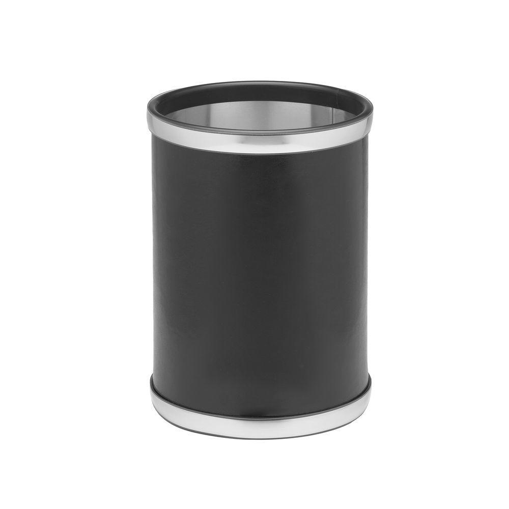 Kraftware Sophisticates 8 Qt. Black w/Brushed Chrome Round Waste Basket