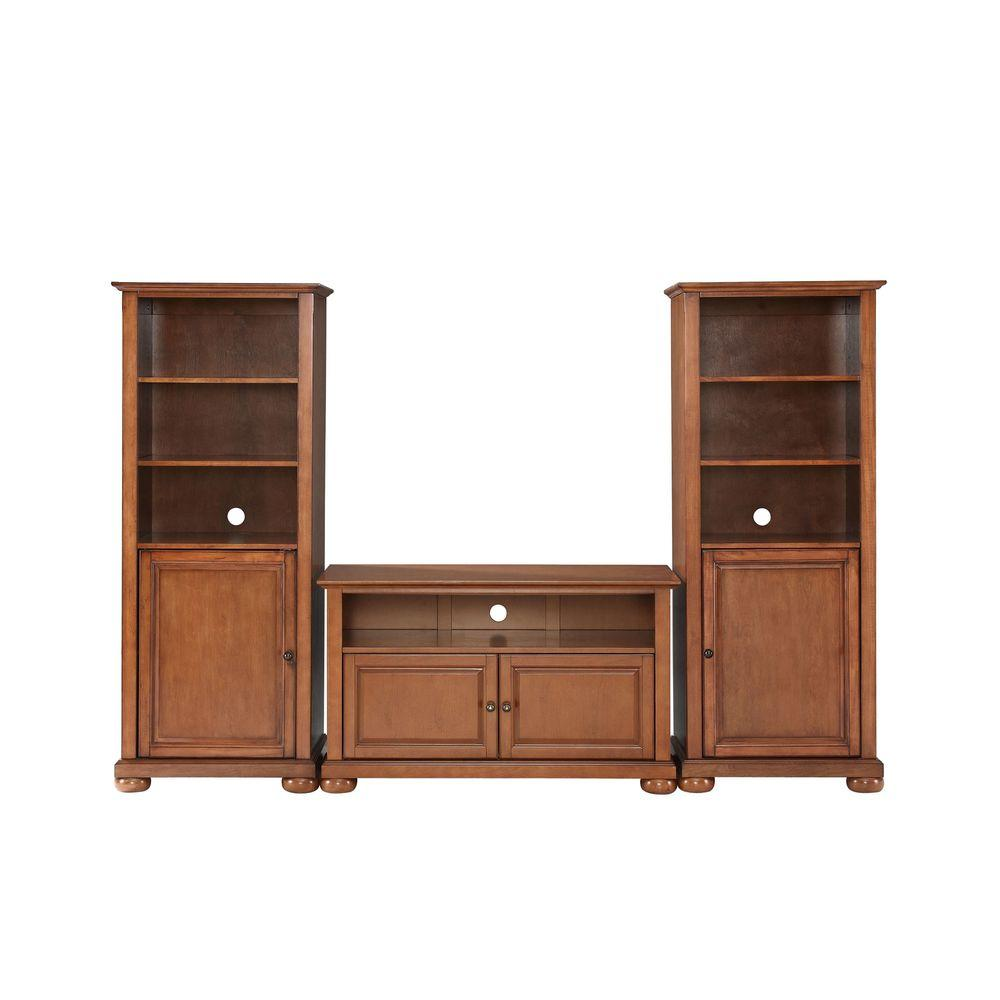Crosley Alexandria TV Stand and 2-Audio Piers in Cherry