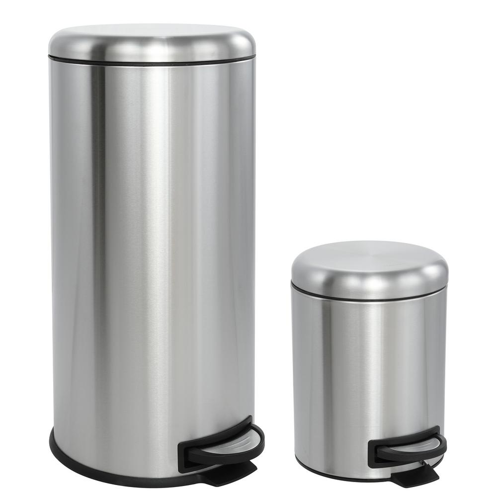 Happimess Oscar Round 8 Gal Step Open Stainless Steel Trash Can