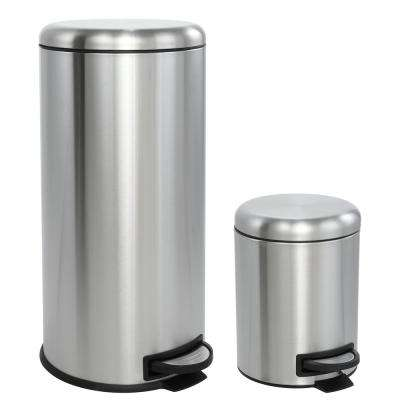 Oscar Round 8 Gal. Step-Open Stainless Steel Trash Can with Free Mini Trash Can