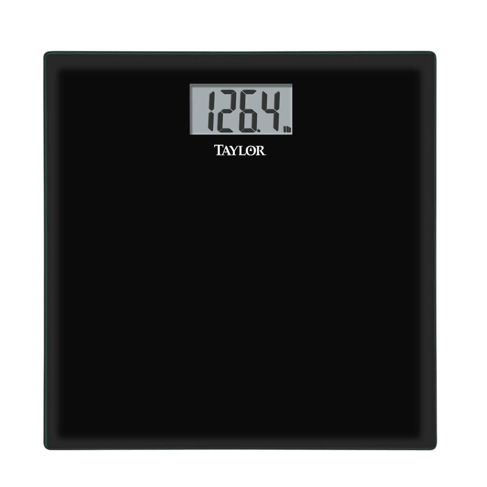 taylor glass digital scale in black 75584192b the home depot rh homedepot com taylor bathroom scale battery size taylor bathroom scale not working